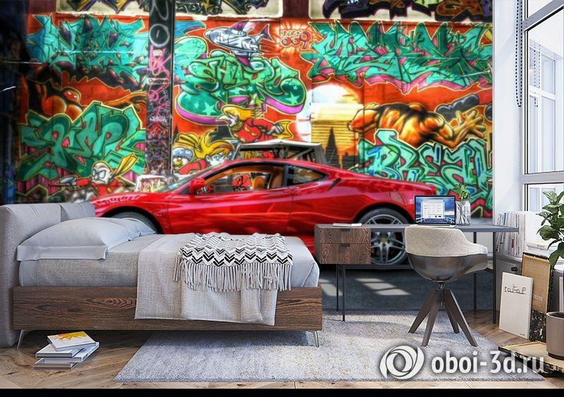 3D Фотообои «Красный автомобиль на фоне граффити» вид 5
