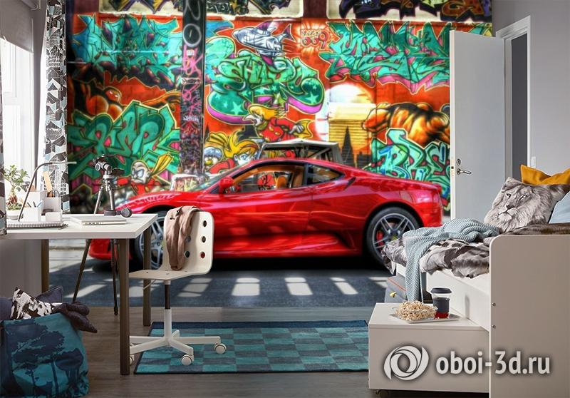 3D Фотообои «Красный автомобиль на фоне граффити» вид 4