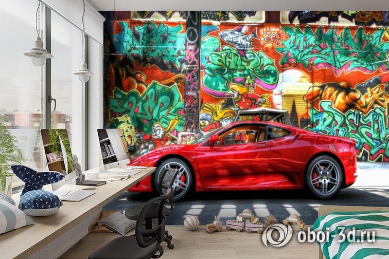 3D Фотообои «Красный автомобиль на фоне граффити» вид 3