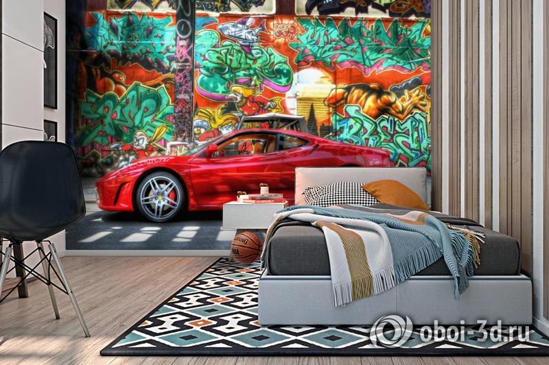 3D Фотообои «Красный автомобиль на фоне граффити» вид 2