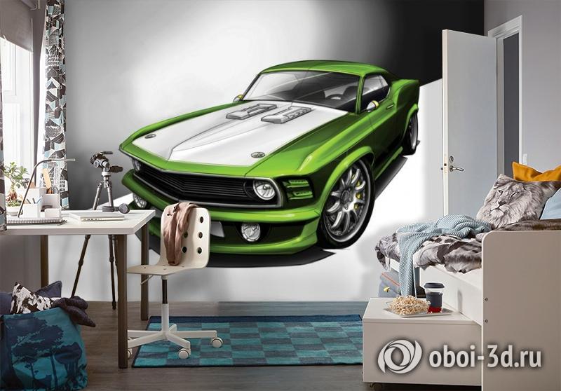 3D Фотообои «Скетч зеленый мустанг» вид 4