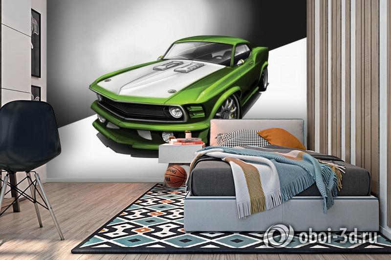 3D Фотообои «Скетч зеленый мустанг» вид 2