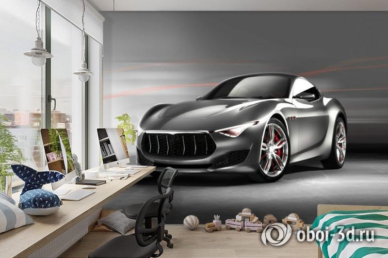3D Фотообои «Современный автомобиль в серых тонах» вид 3