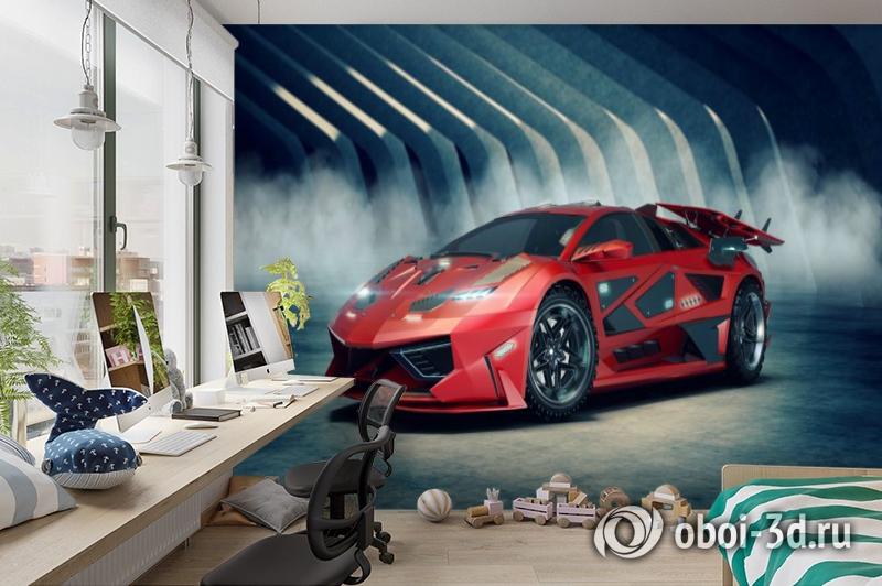 3D Фотообои «Футуристичный красный автомобиль» вид 3