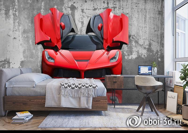 3D Фотообои «Красное авто на бетонном фоне» вид 5