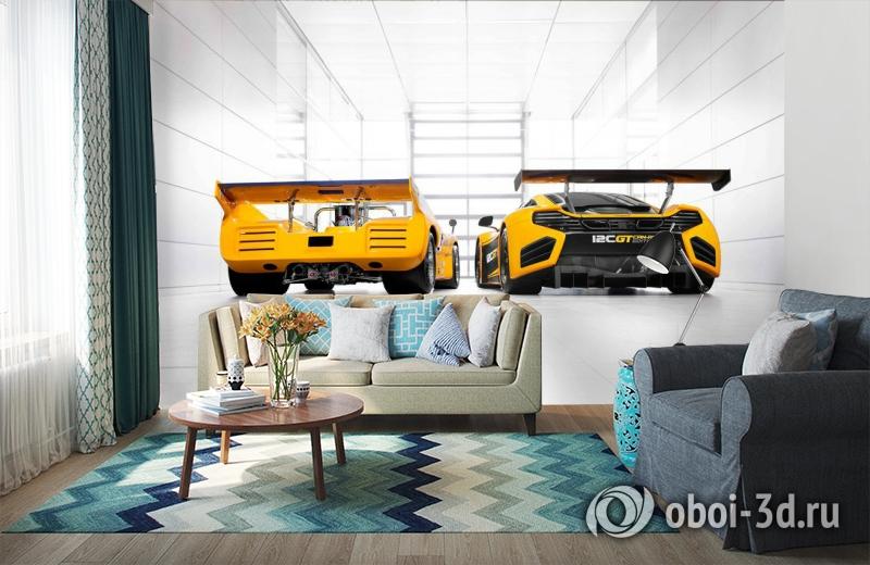 3D Фотообои «Светлый гараж с двумя желтыми спорткарами» вид 6