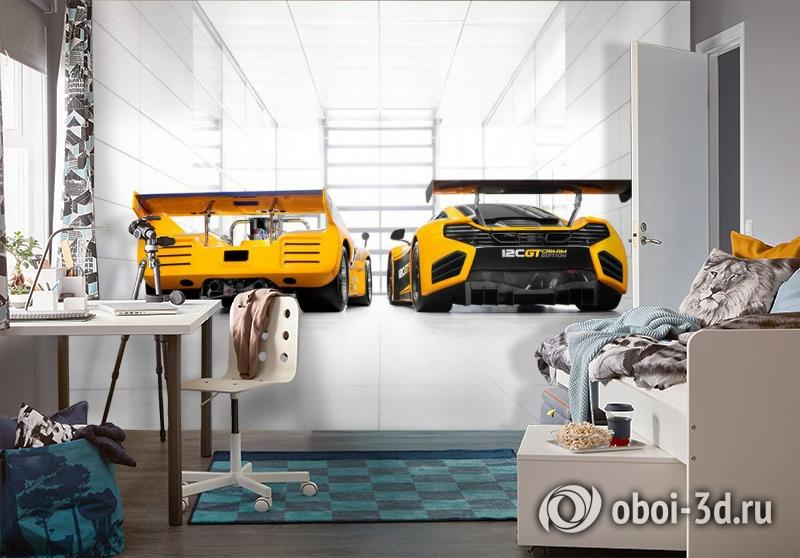 3D Фотообои «Светлый гараж с двумя желтыми спорткарами» вид 4