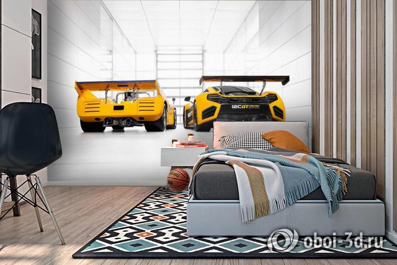 3D Фотообои «Светлый гараж с двумя желтыми спорткарами» вид 2