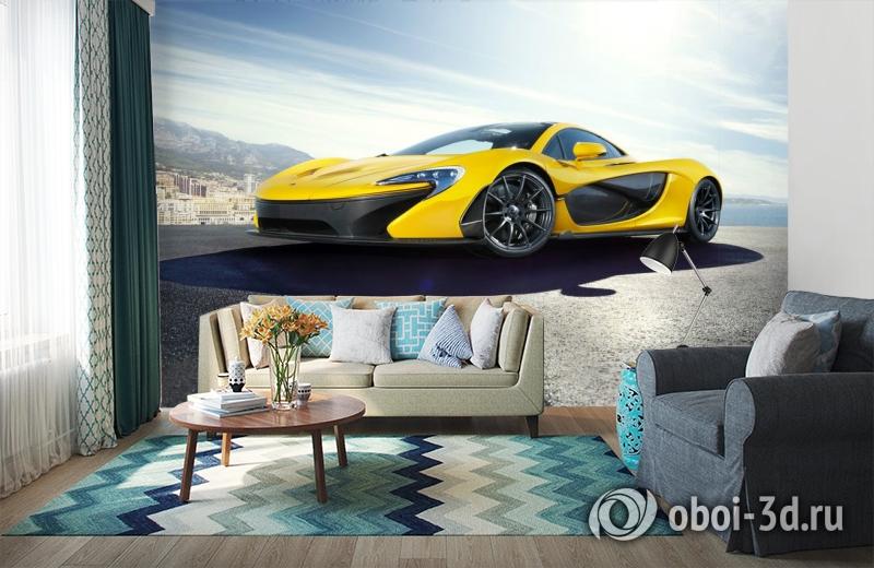 3D Фотообои «Желтый спортивный автомобиль в лучах солнца» вид 6