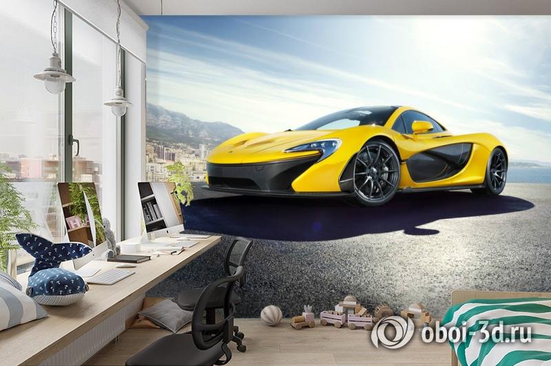 3D Фотообои «Желтый спортивный автомобиль в лучах солнца» вид 3
