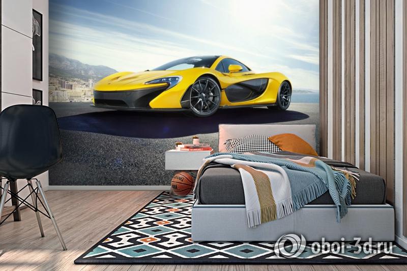 3D Фотообои «Желтый спортивный автомобиль в лучах солнца» вид 2