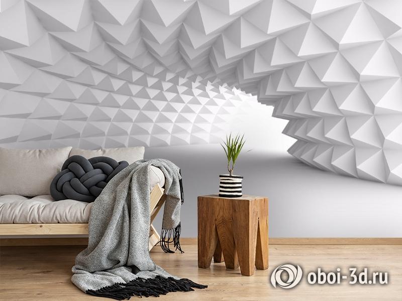 3D Фотообои «Тоннель с острыми гранями» вид 2