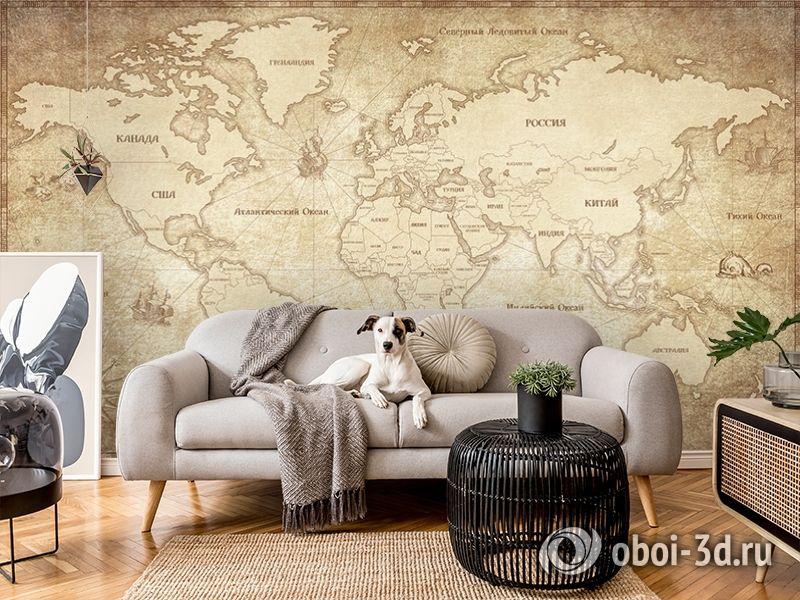 3D Фотообои «Карта мира в винтажном стиле» вид 6