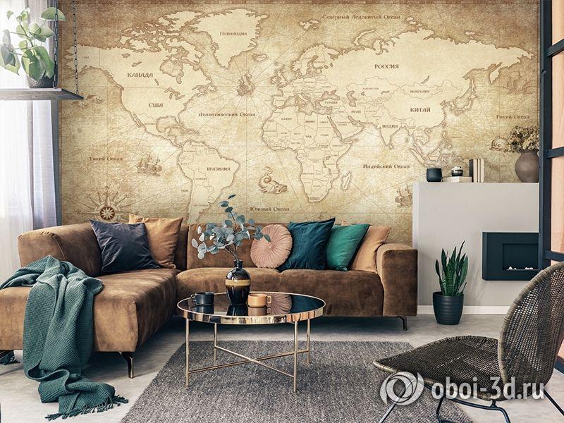 3D Фотообои «Карта мира в винтажном стиле» вид 3