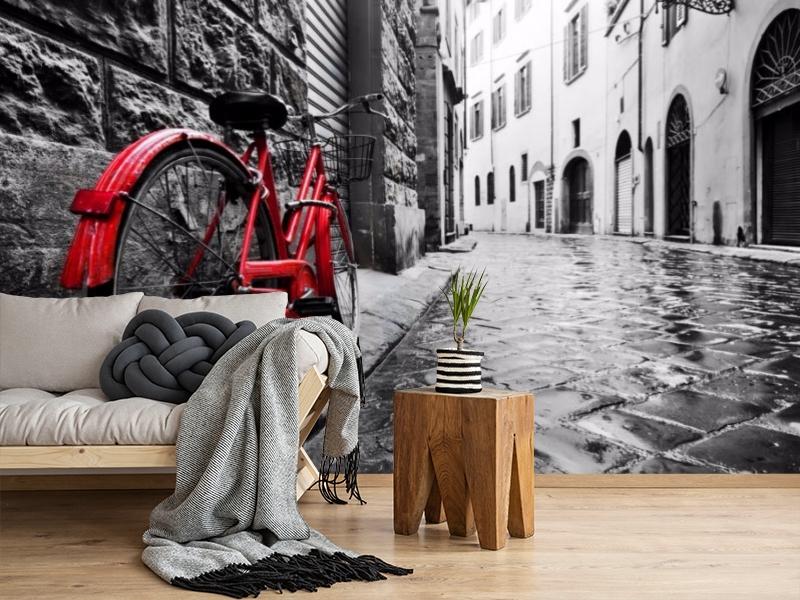 3D Фотообои «Красный велосипед на черно белой улочке» вид 2