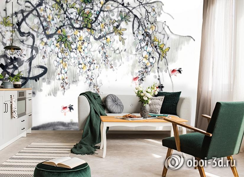 3D Фотообои  «Японские мотивы: Цветущее дерево»  вид 6