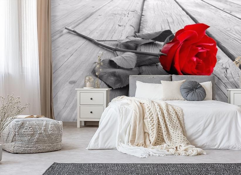 3D Фотообои «Черно белое фото с красной розой» вид 4