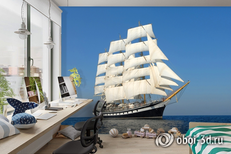 3D Фотообои  «Парусный корабль» вид 3