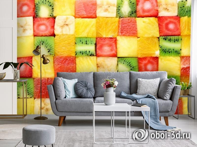 3D Фотообои «Сочные фруктовые кубики» вид 3