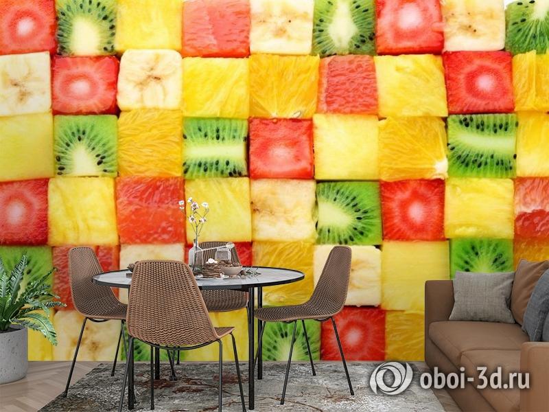 3D Фотообои «Сочные фруктовые кубики» вид 2