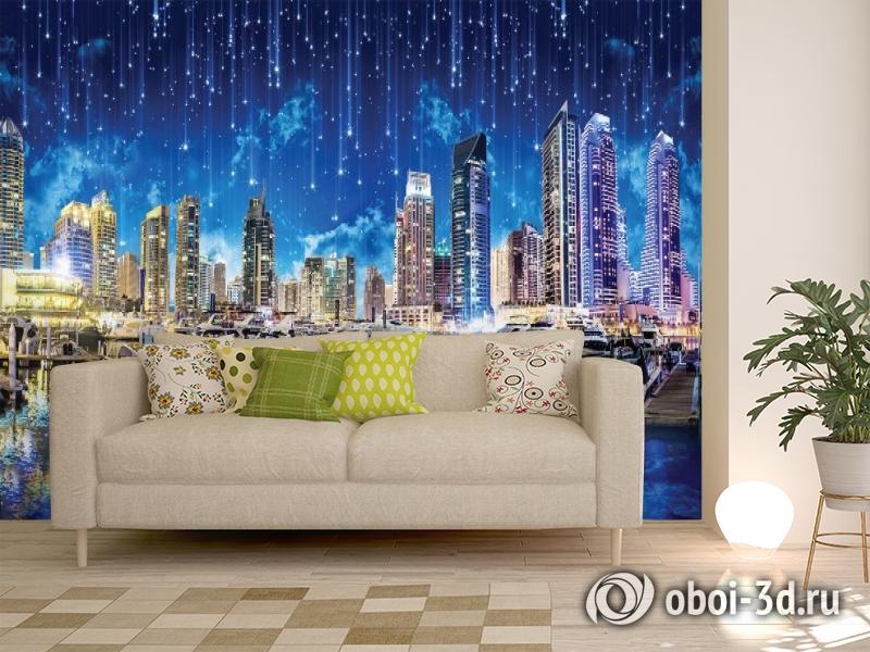 3D Фотообои «Звездопад над ночным городом» вид 11