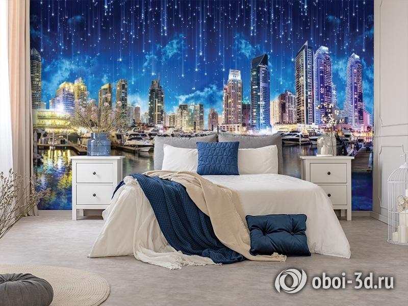 3D Фотообои «Звездопад над ночным городом» вид 8