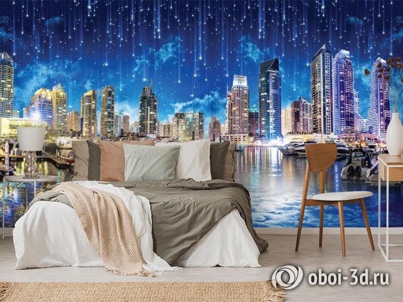 3D Фотообои «Звездопад над ночным городом» вид 6