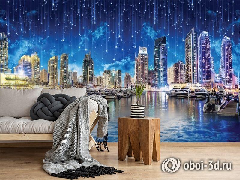 3D Фотообои «Звездопад над ночным городом» вид 5