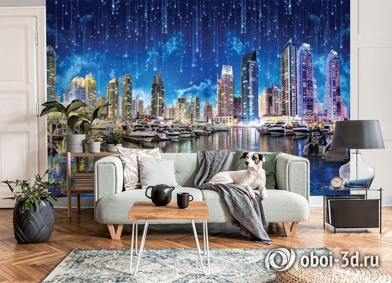3D Фотообои «Звездопад над ночным городом» вид 3