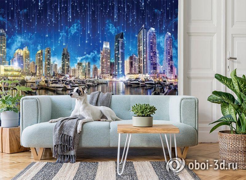 3D Фотообои «Звездопад над ночным городом» вид 2