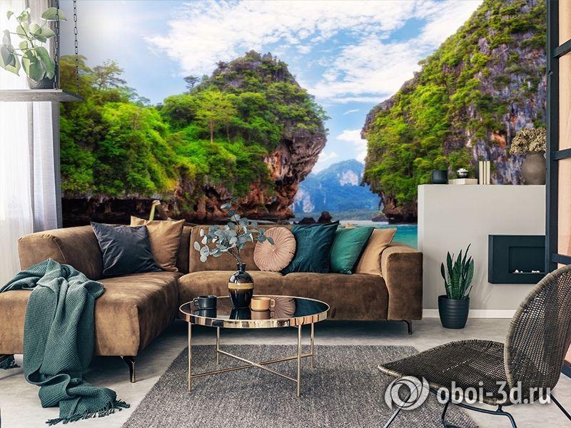 3D Фотообои  «Горы и море»  вид 3