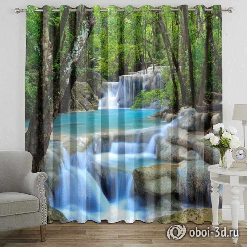 Фотошторы «Водопад в зеленом лесу» вид 7