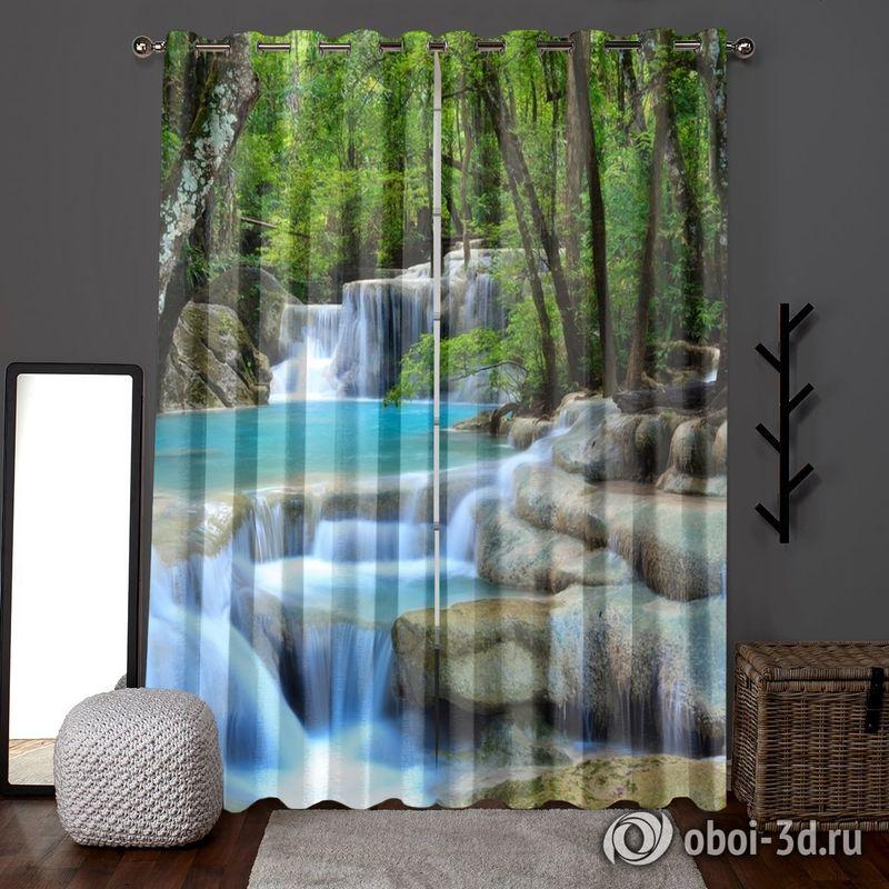 Фотошторы «Водопад в зеленом лесу» вид 6