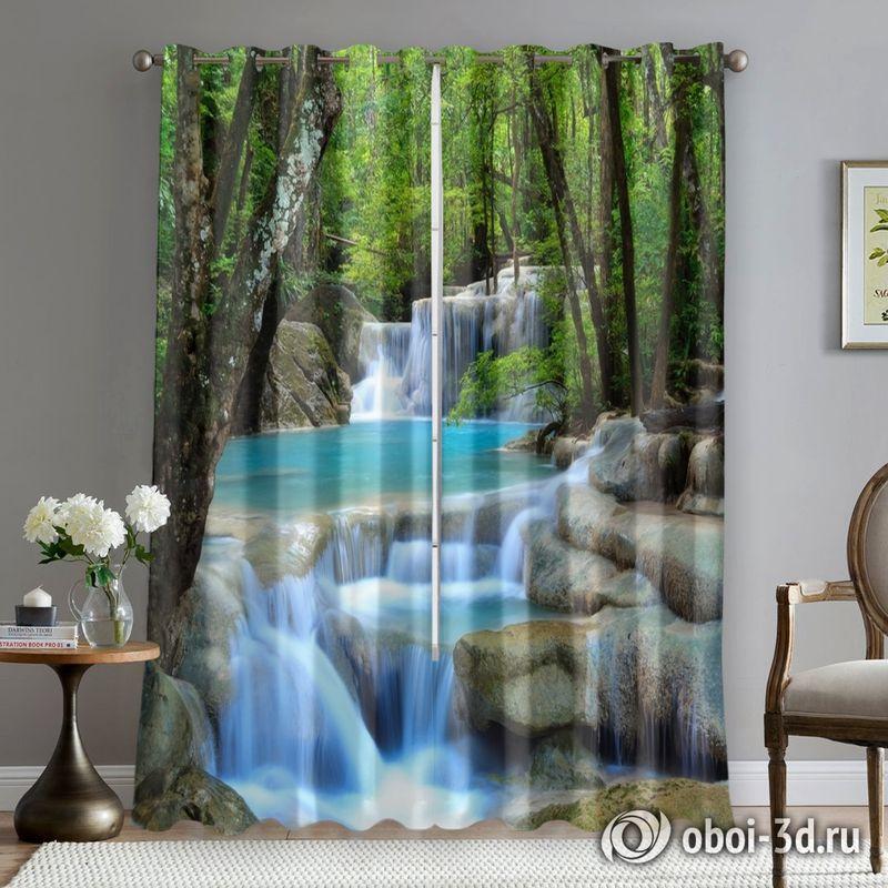 Фотошторы «Водопад в зеленом лесу» вид 5