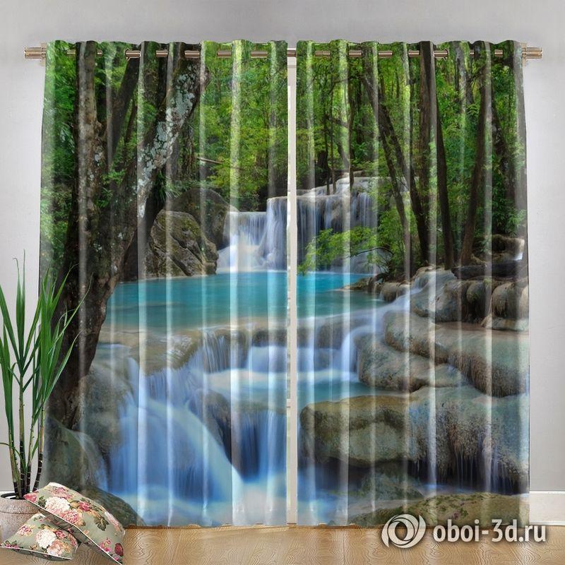 Фотошторы «Водопад в зеленом лесу» вид 4