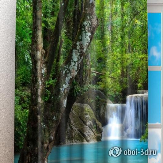 Фотошторы «Водопад в зеленом лесу» вид 3