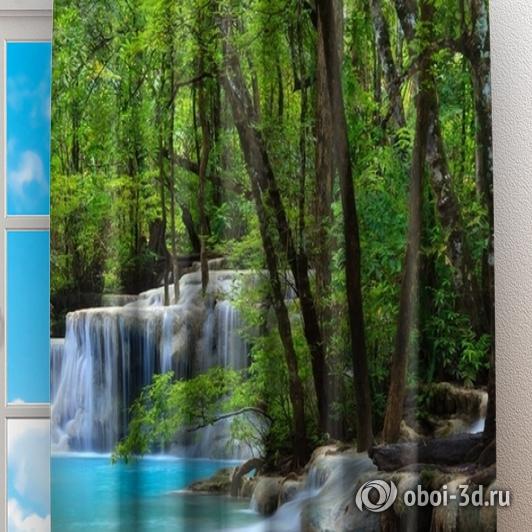 Фотошторы «Водопад в зеленом лесу» вид 2