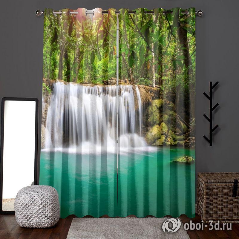 Фотошторы «Водопад в лесу» вид 6