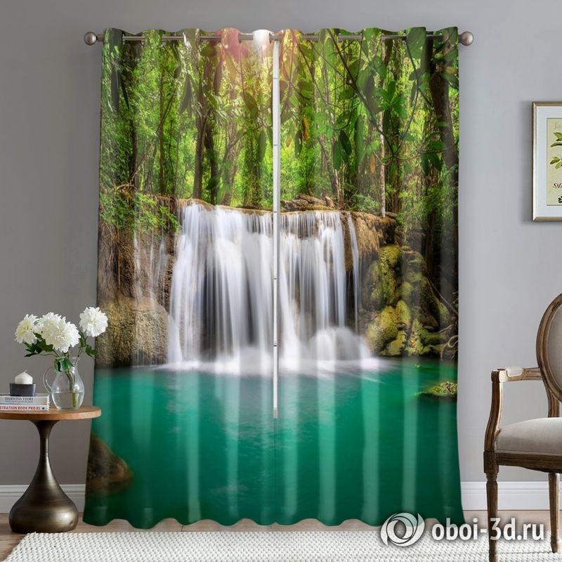 Фотошторы «Водопад в лесу» вид 5
