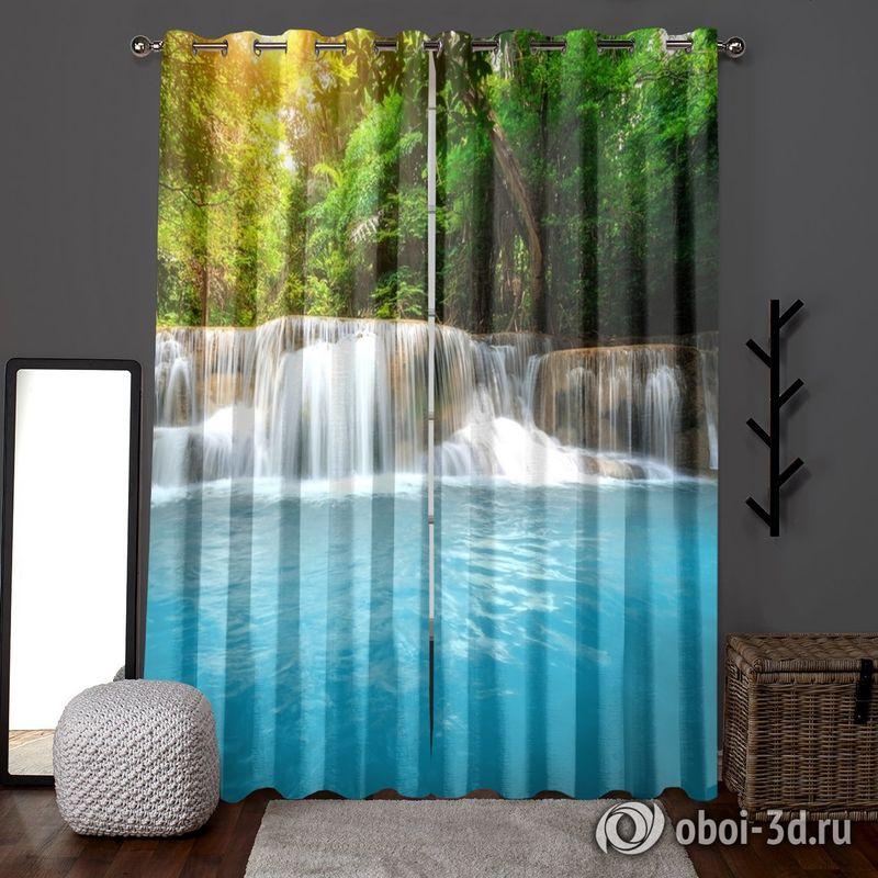 Фотошторы «Водопад с голубой водой» вид 6
