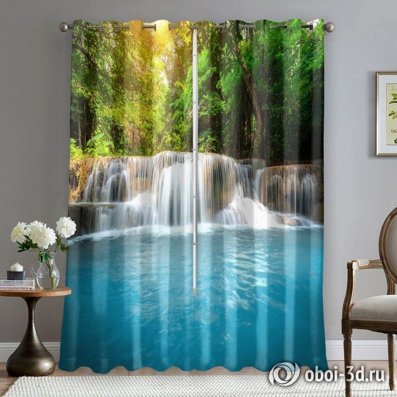 Фотошторы «Водопад с голубой водой» вид 5
