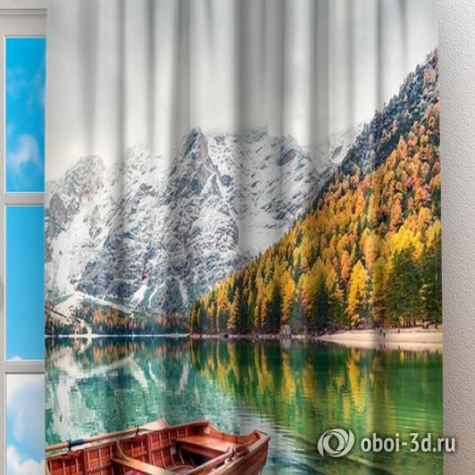 Фотошторы «Лодочки на горном озере» вид 2