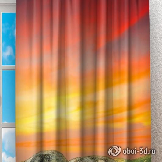 Фотошторы «Большие камни на закате» вид 2