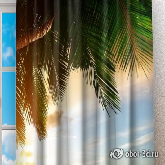 Фотошторы «Закат под пальмами» вид 2
