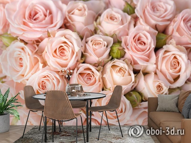 3D Фотообои «Кремовые розы» вид 2