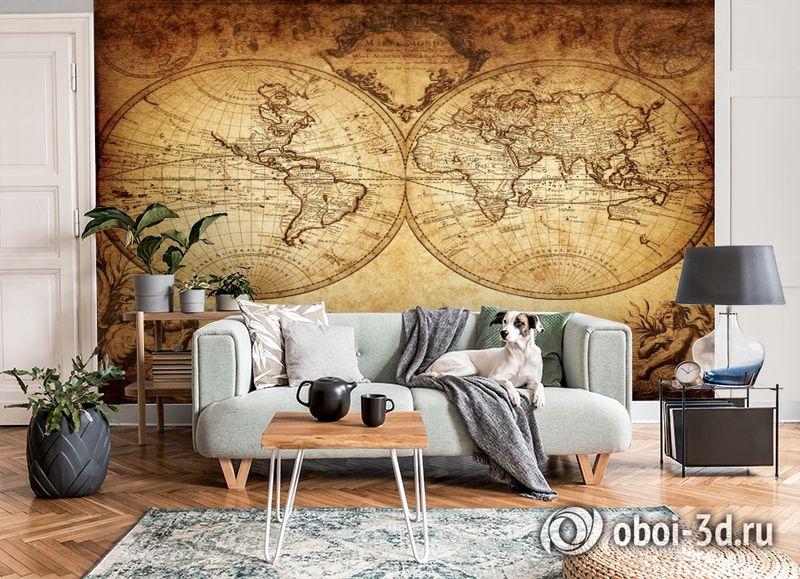 3D Фотообои «Старинная карта мира» вид 8