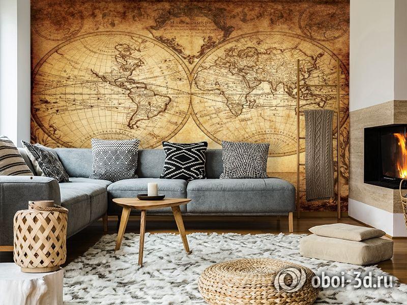 3D Фотообои «Старинная карта мира» вид 7