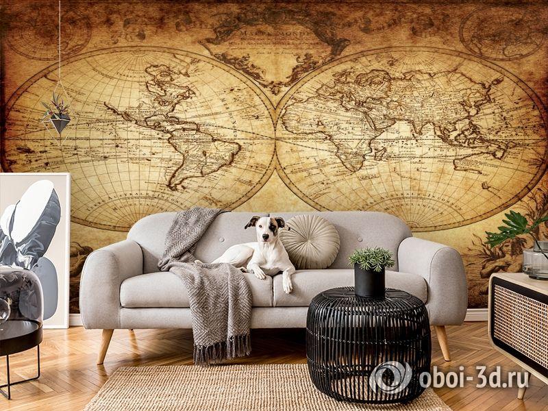 3D Фотообои «Старинная карта мира» вид 6