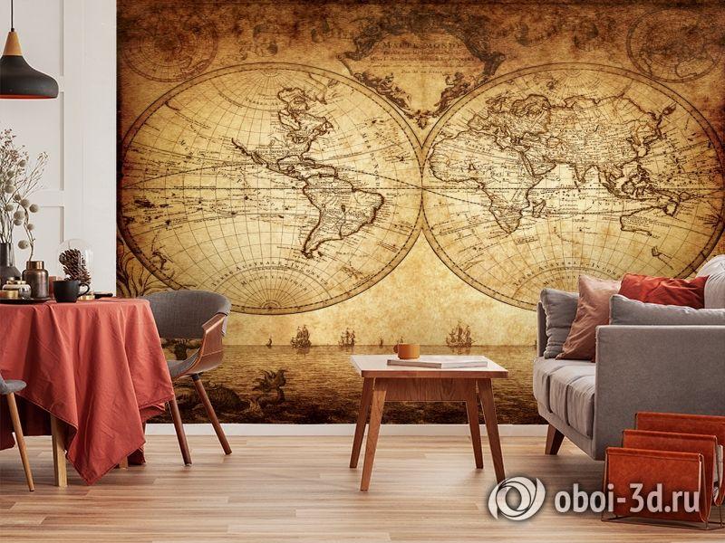 3D Фотообои «Старинная карта мира» вид 5