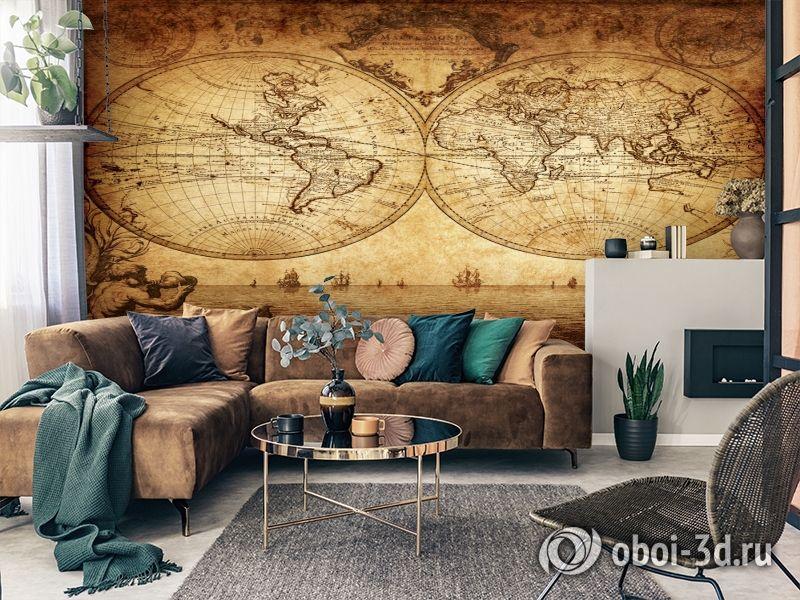 3D Фотообои «Старинная карта мира» вид 3